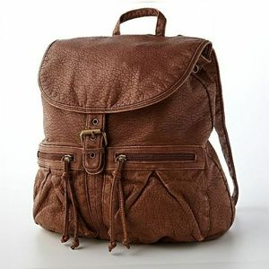 MUDD Brown leather stylish back pack